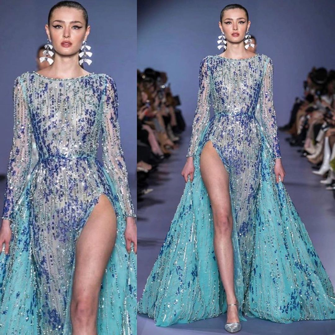 Blue Sequin Couture Full Sleeves Dress with High Slit & Train.