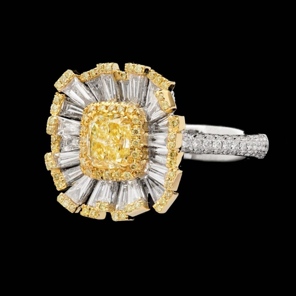 White and Yellow Diamond Ring Online Jewelry