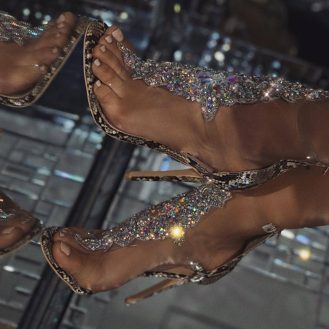 Women's Shoes for Evening with Rhinestones.