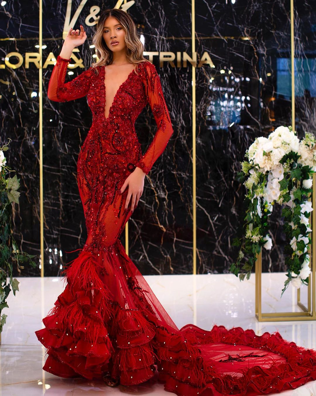 Dark Red Long Gown with Deep V-Neck & Full Sleeves.