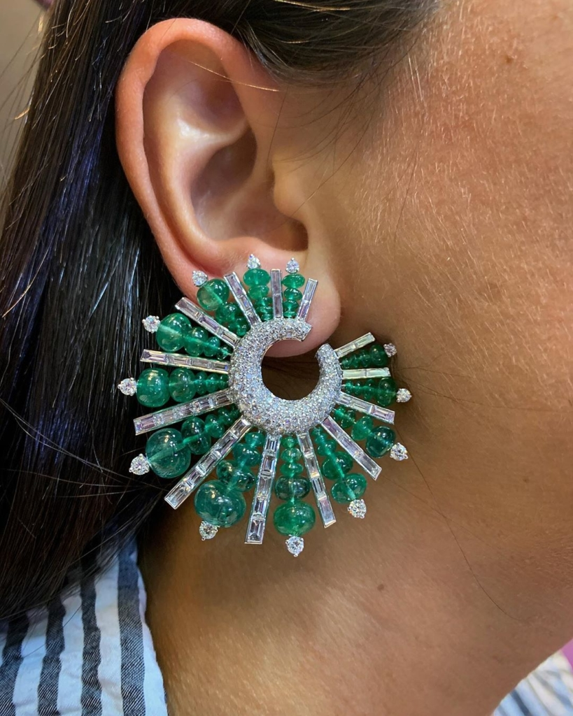 Glittering Green and Clear Rhinestone Earring Online Jewelry