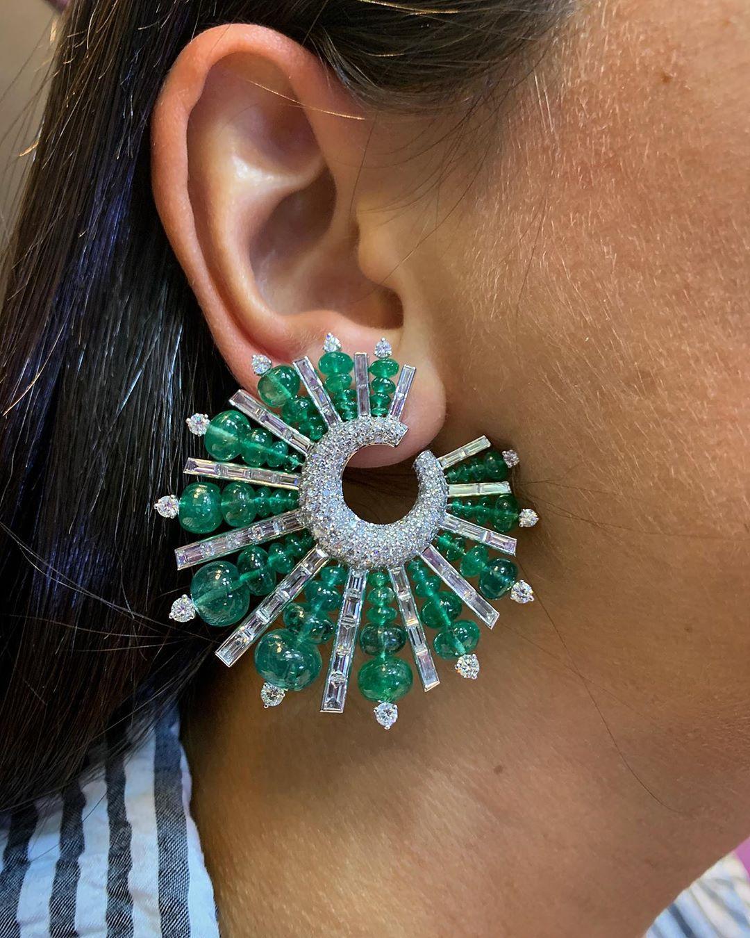 Glittering Green and Clear Rhinestone Earring Online Jewelry