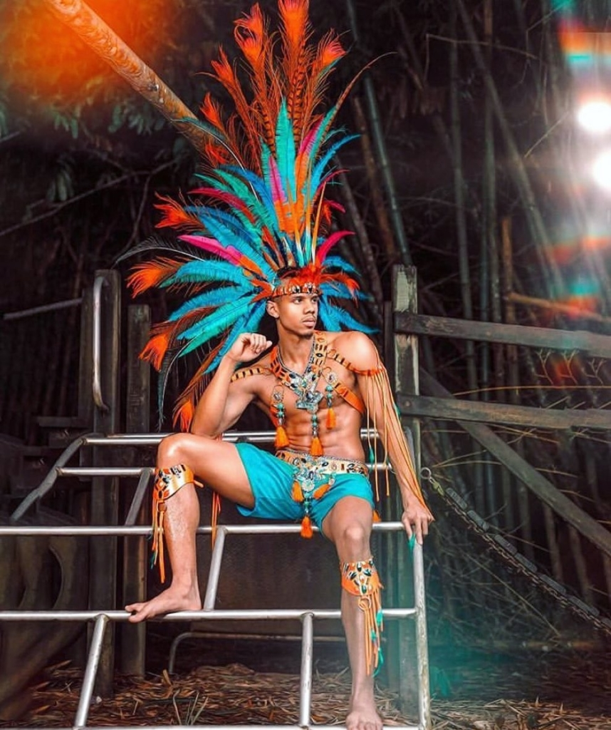 Turquoise and Orange Men's Carnival Costume.