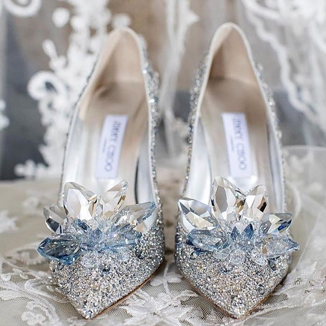 Designer Silver High Heel Pointed Toe Bridal Shoes with Oversized Crystal Flowers