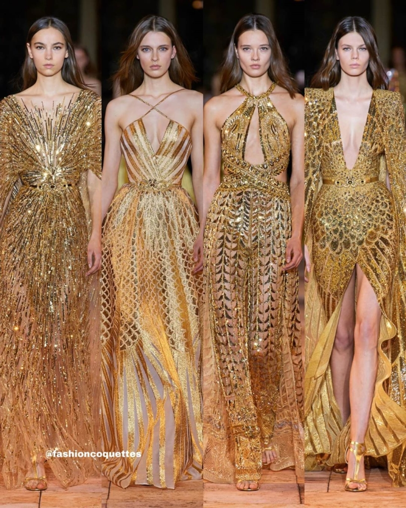 Long Gold Sequin Gowns for Evening.