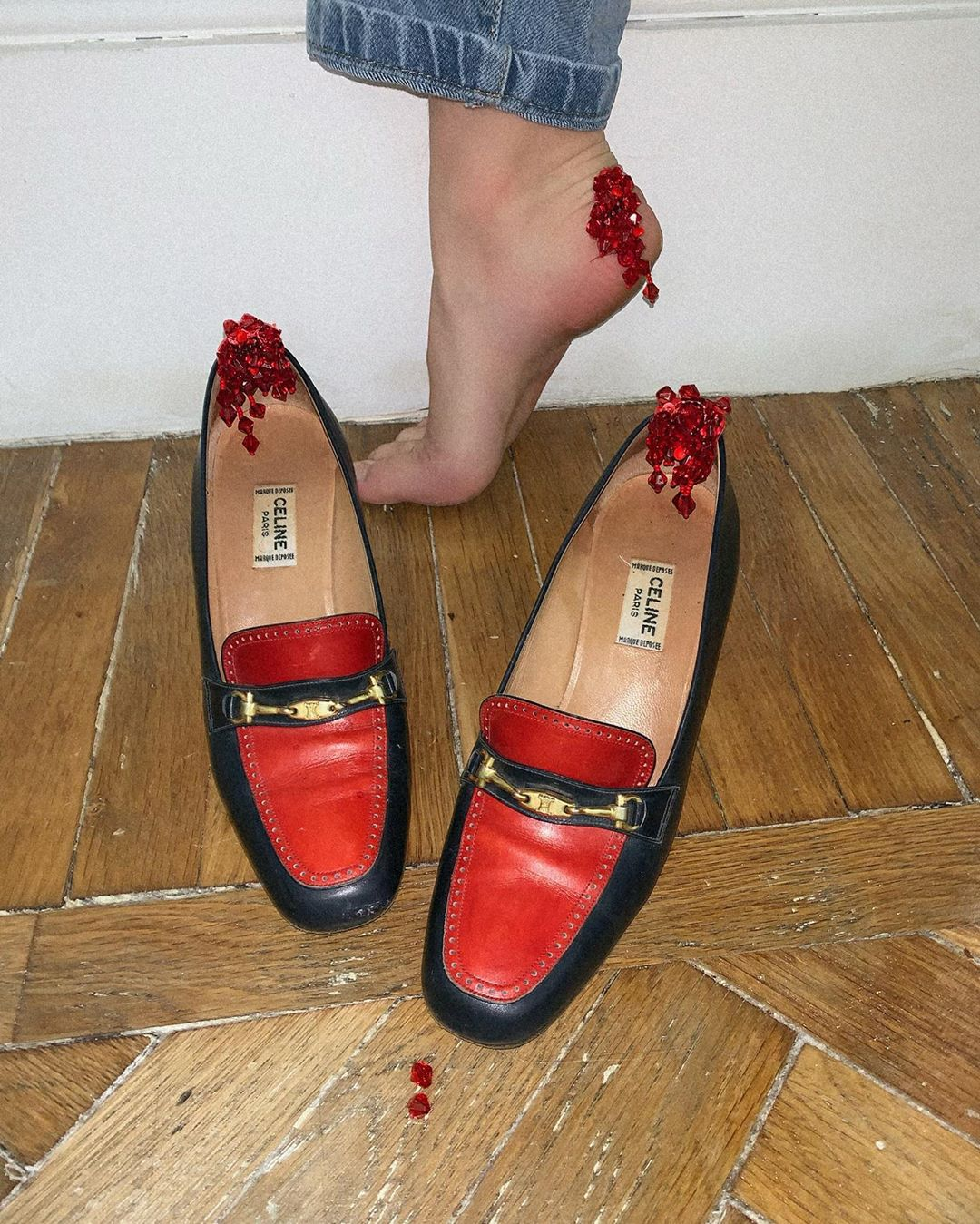 Black & Red Flat Designer Loafers with Red Rhinestones.