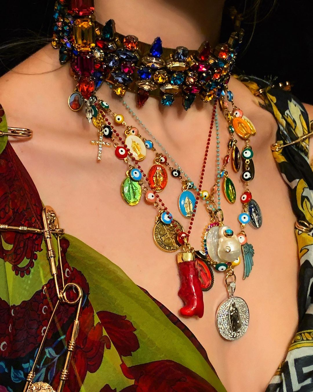 Best Jewelry Online: Gypsy Inspired Necklace and Choker Set with Multi Colour Rhinestones