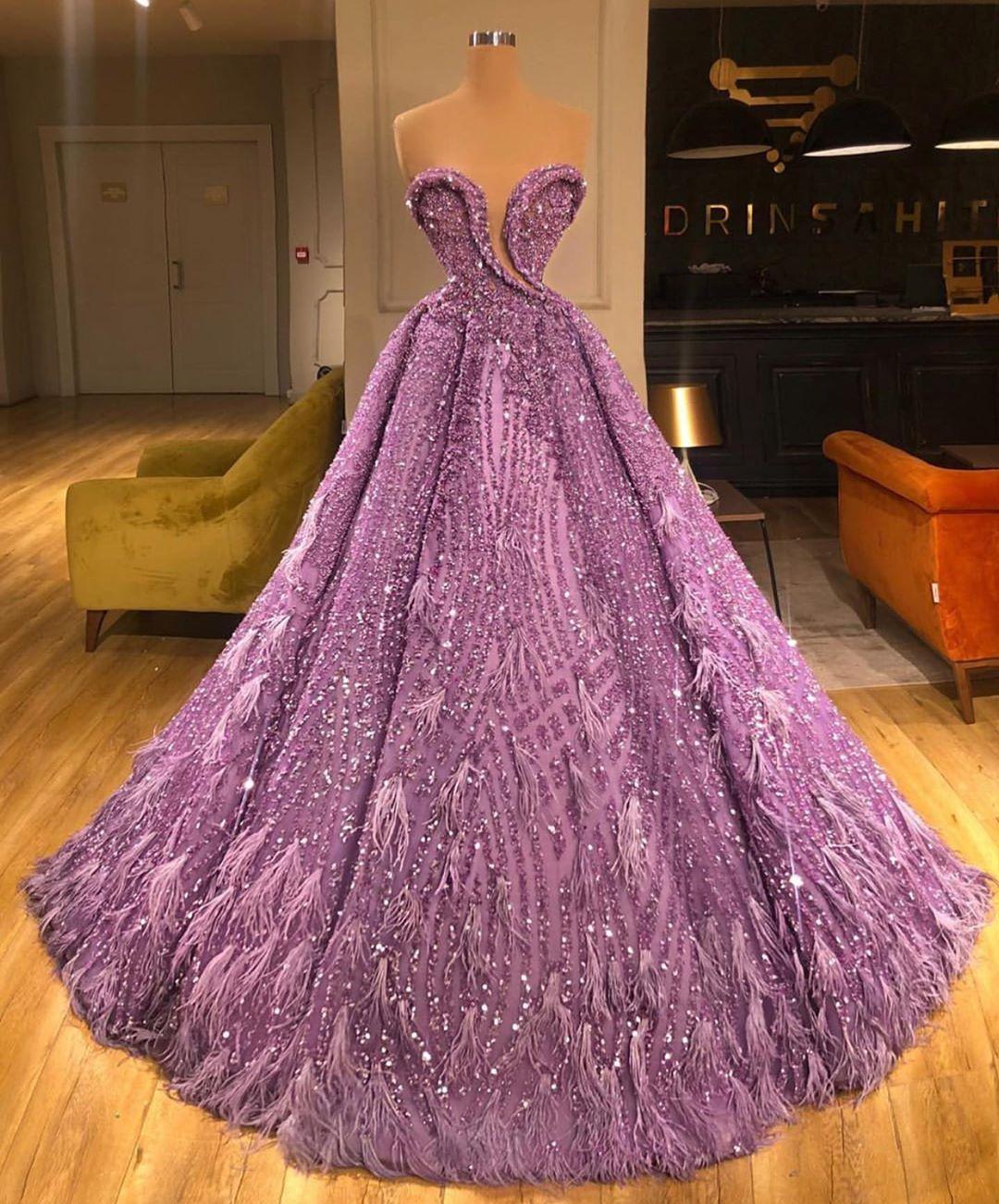 Long Off The Shoulder Regal Lilac Sequin Gown.