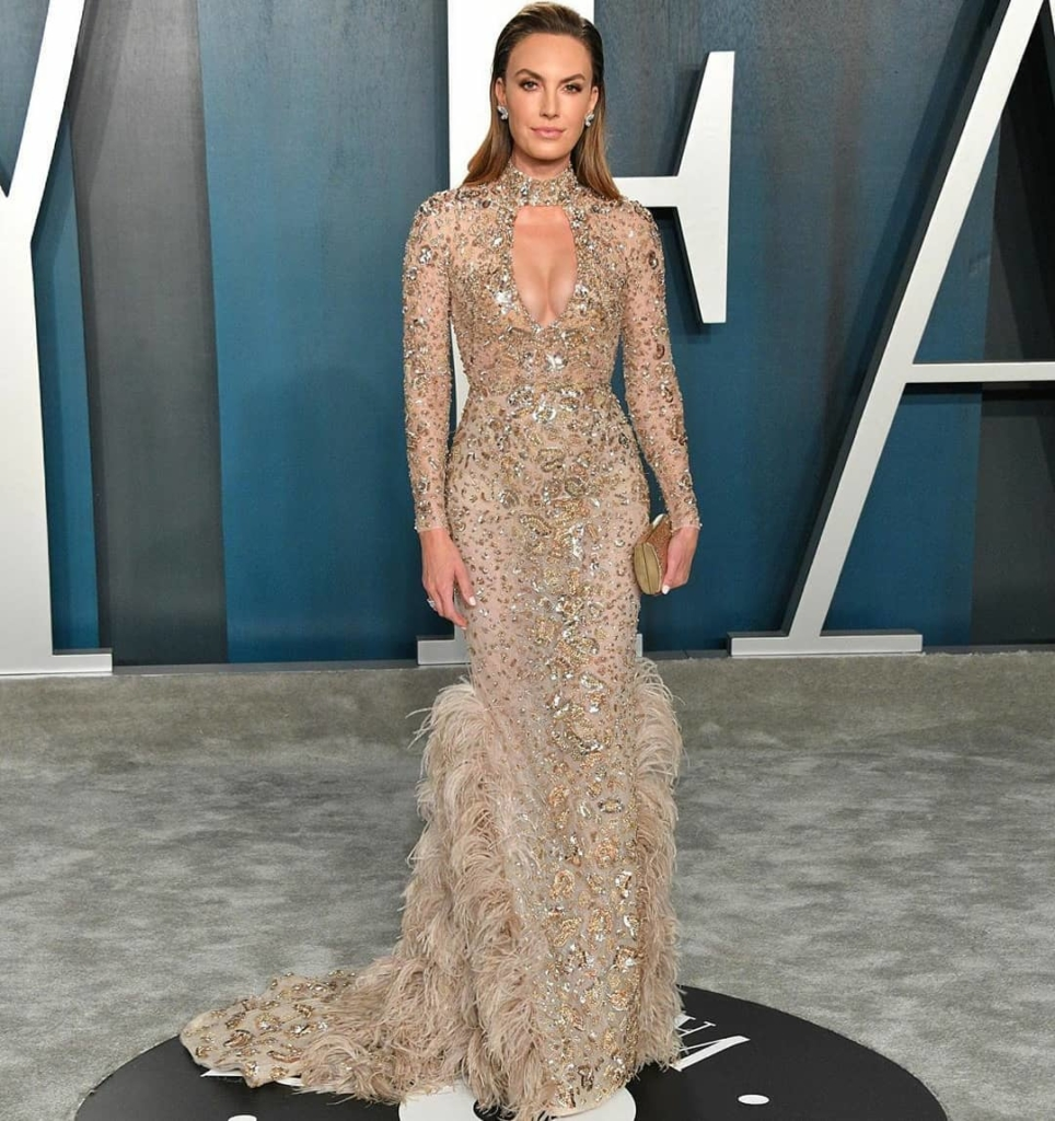 Sequin Long Gown with Sleeves, Keyhole Bust and Feathered Train