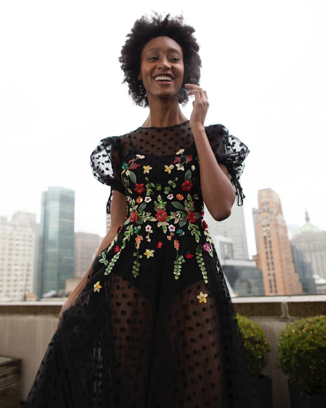 Black See Through Long Gown with Sequin And Embroidery.