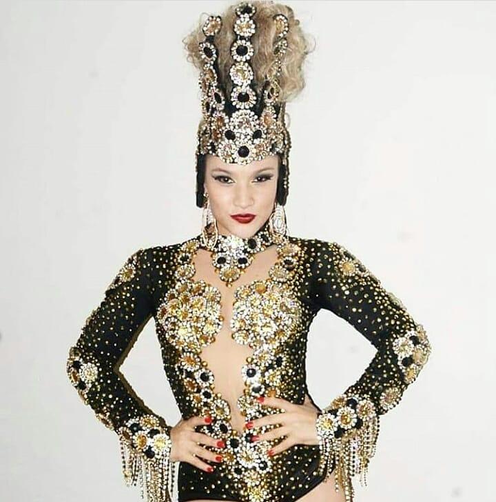 Gold Rhinestones with Black Gems Glittering Stage Wear Leotard