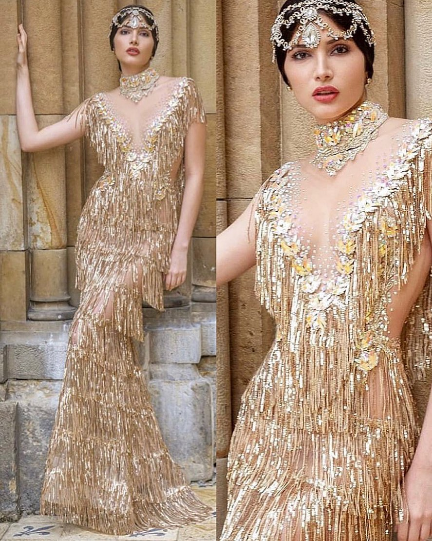 Layered Tassle Long Sequin Dress with Choker and Headpiece in Gold.
