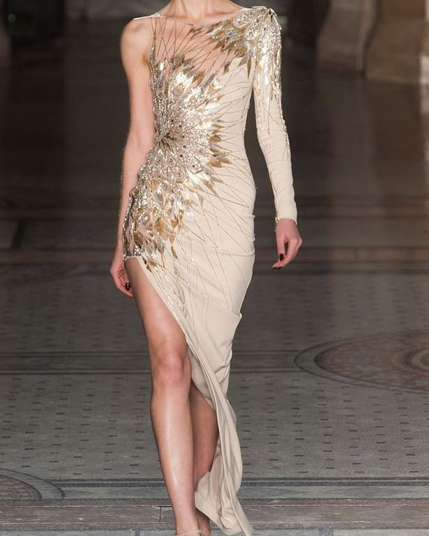 Sequin Dress with One Shoulder Long Sleeves And Diagonal Hemline.