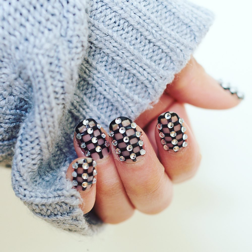 Black and Nude Colour Nail Polish with Clear Rhinestones