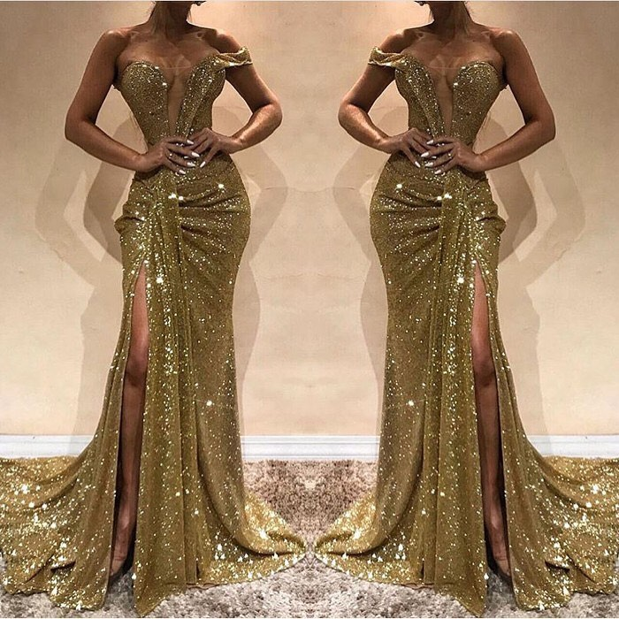 One Shoulder Gold Sequin and Crystal Evening Gown with Slit and Train