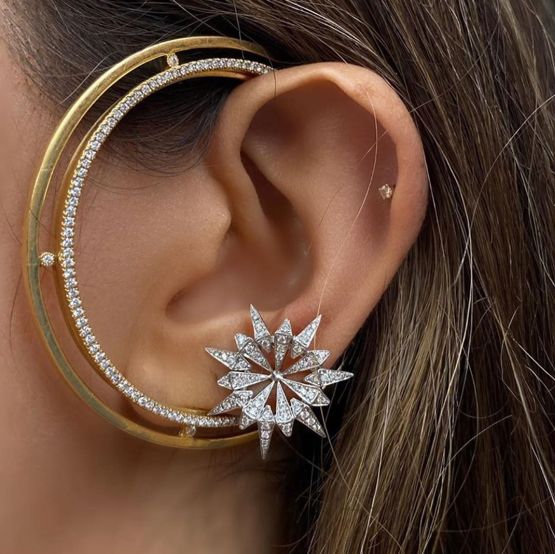 Best Jewelry Online: Ear Hugging Earring In Yellow Gold with Clear Damond Stones