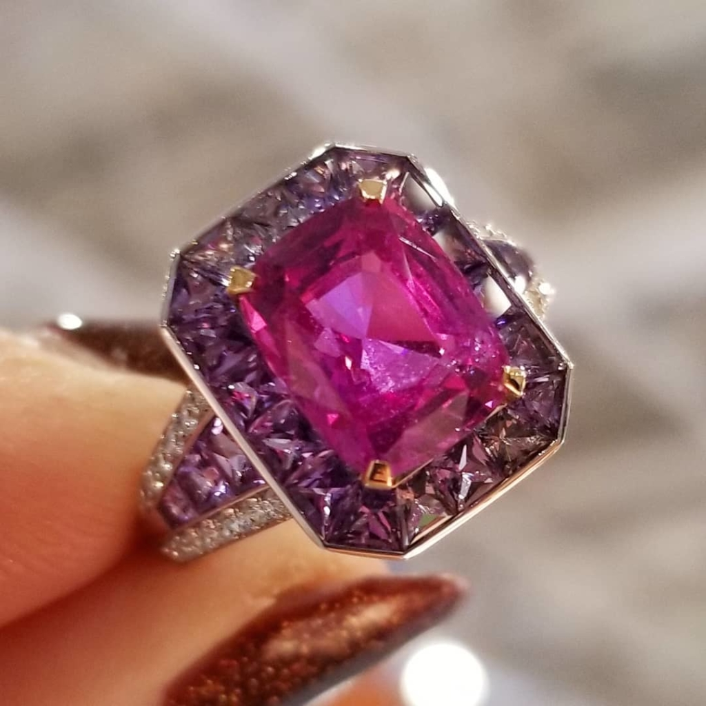 Amethyst and Pink Diamond Ring