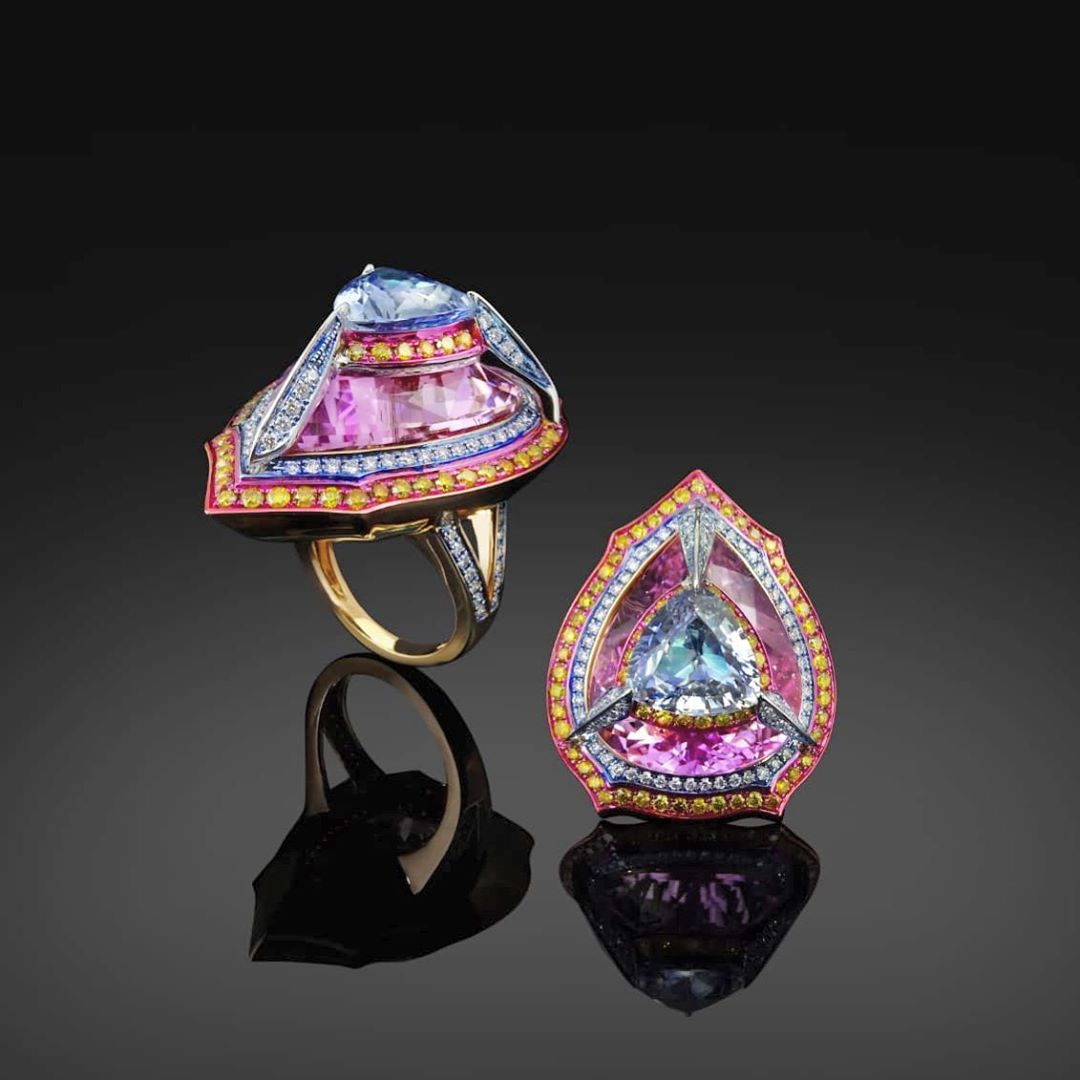 Best Jewelry Online: Multi-Colour Gem Stones Ring In Yellow Gold