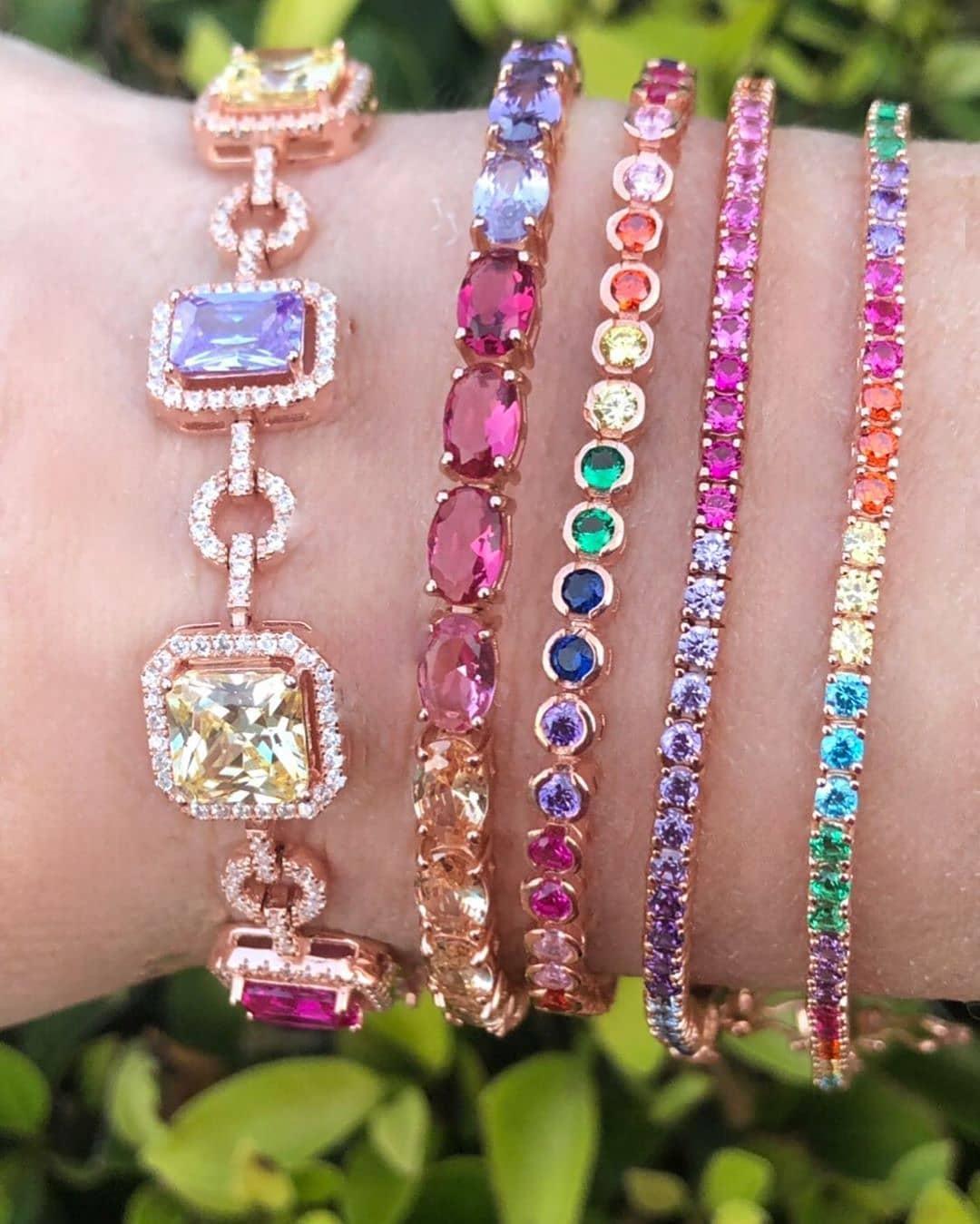 Best Bling Online. Rainbow Sapphires and Gold Tennis Bracelets.