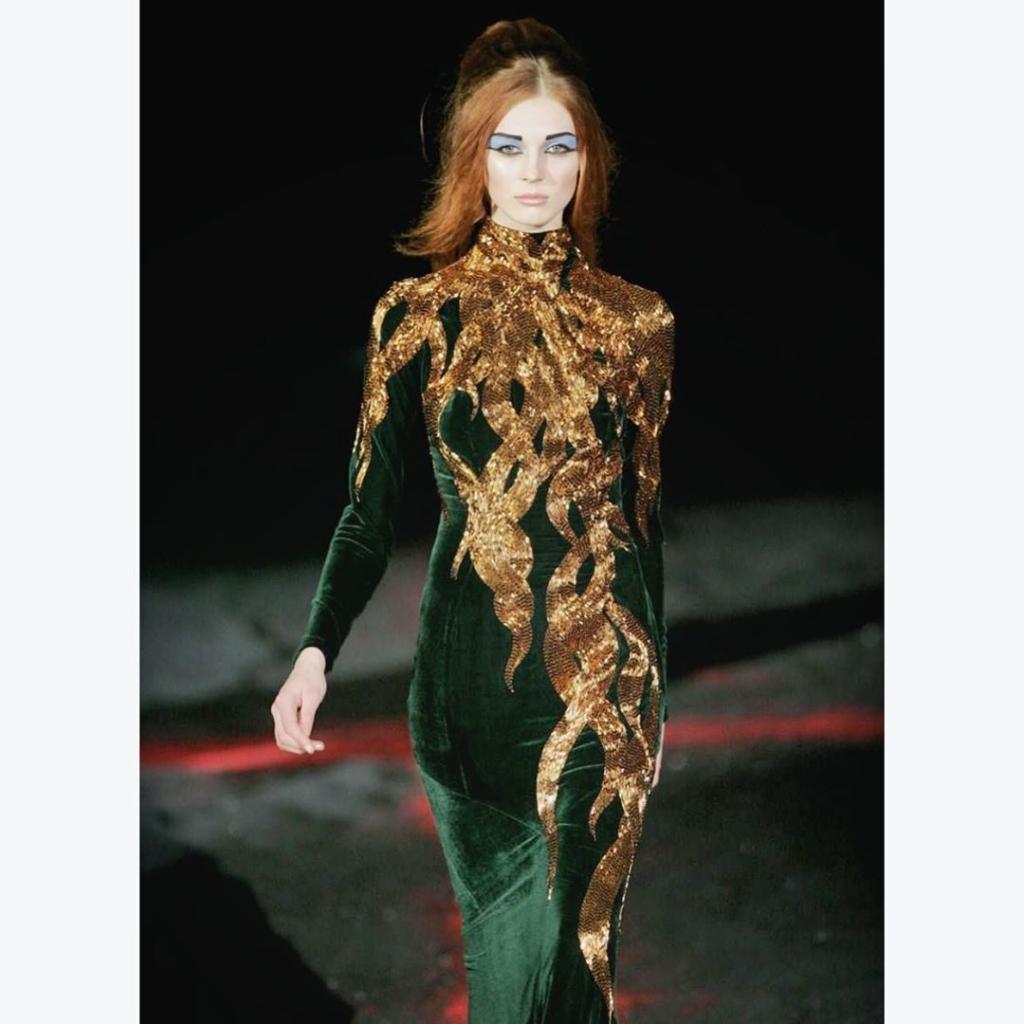 Green Velvet Long Gown with Gold Sequins