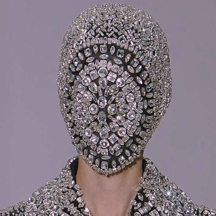 The Best Bling Online When you need to Hide from Monday. Full Face Mask in Black with Chunky Crystals.