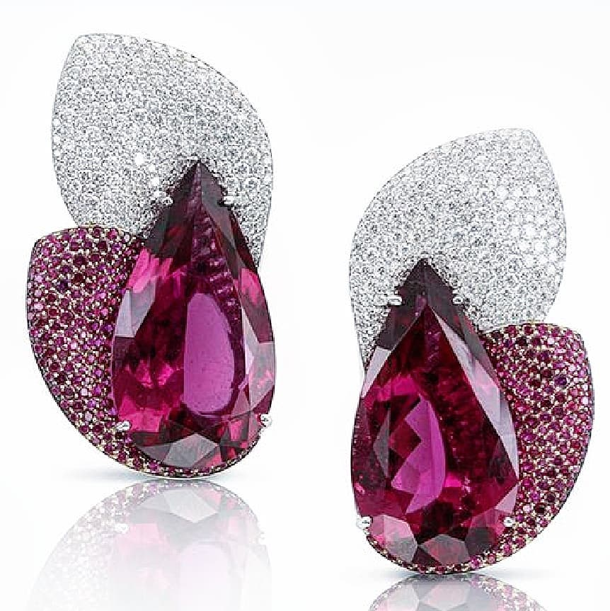 Dark Pink Teardrop Stones with Clear and Pink Diamonds Earrings