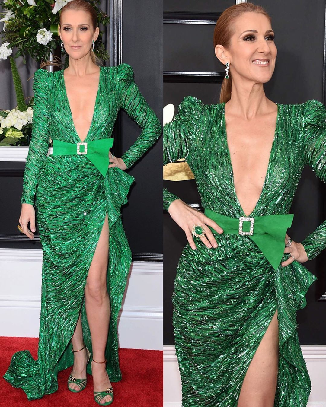 Long Emerald Green Sequin Wrap Dress with Deep V-Neck, Padded Shoulders, Train and High Slit.