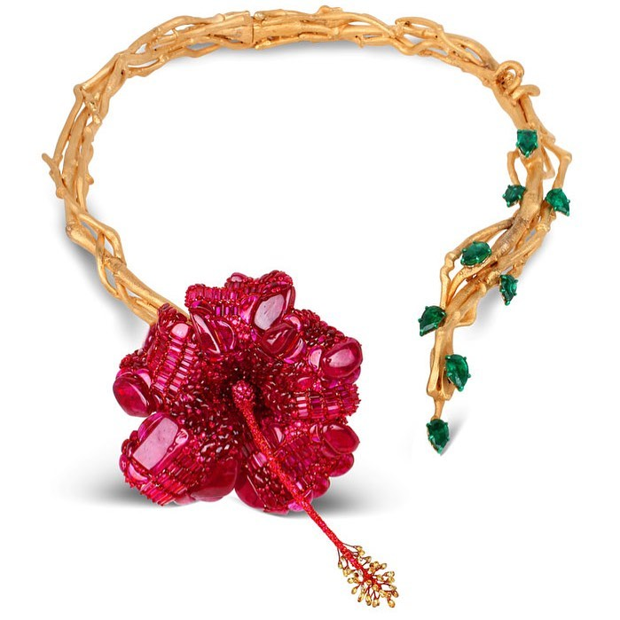 Hibiscus Flower Inspired Choker with Rubies and Emeralds