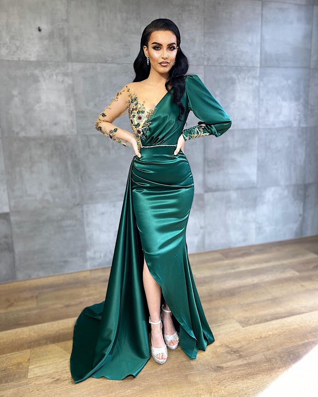 Dark Green V-Neck Long Gown with Single Full Sleeve, Sequin and Bead Flowers and Side Slit