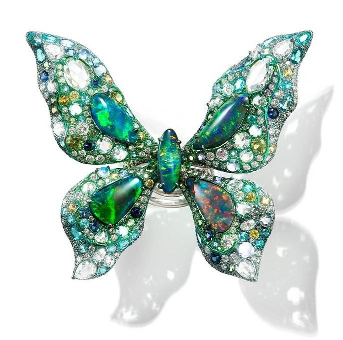 Butterfly Green and Clear Rhinestones with Green Opal Ring