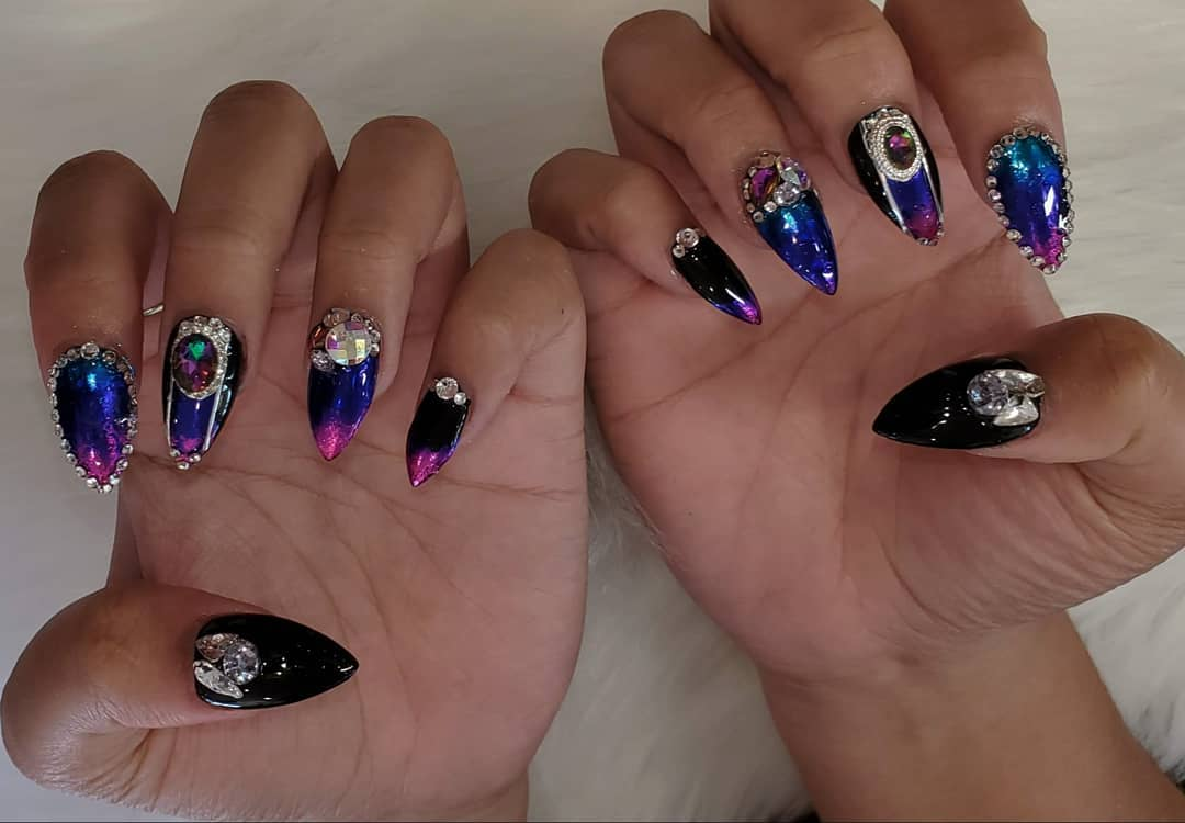 Dark Purple Nail Polish with Colourful Rhinestones and Beads