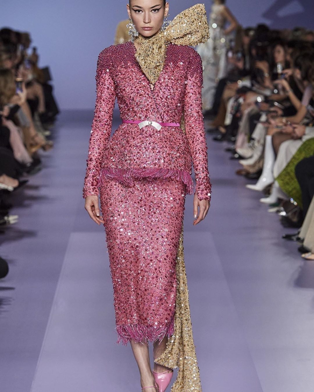 Dark Pink Sequin Short Dress With Gold Tie-up & Long Sleeves.