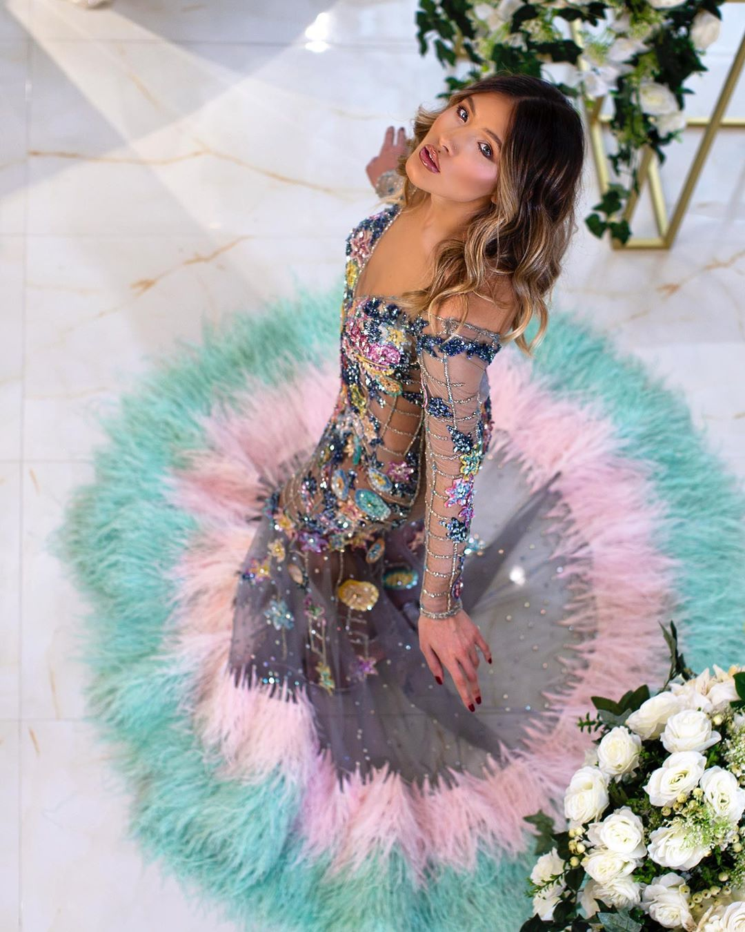 Long Sleeves Sheer Colorful Sequin Flower Dress Rhinestones, Beads and V-Neck