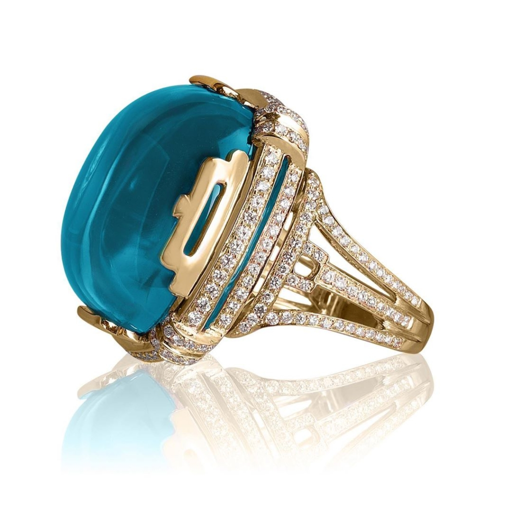 Cabochon Blue Topaz and Diamond Gold Ring