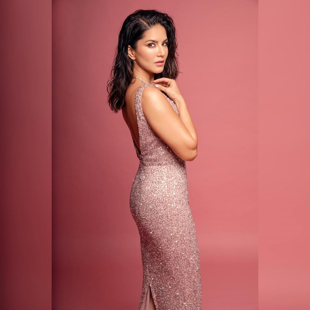 Rose Gold Long Sleeveless Gown with Open Back.