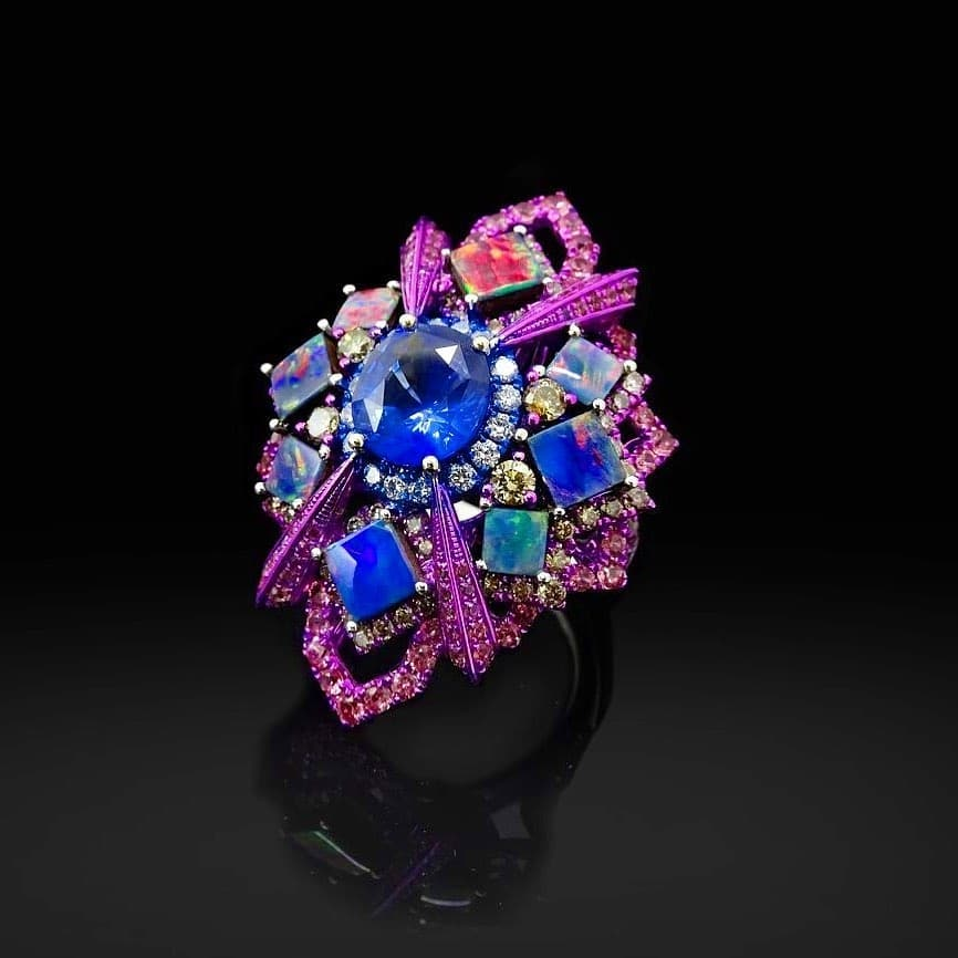 Purple, Blue and Red Crystal Stones Ring