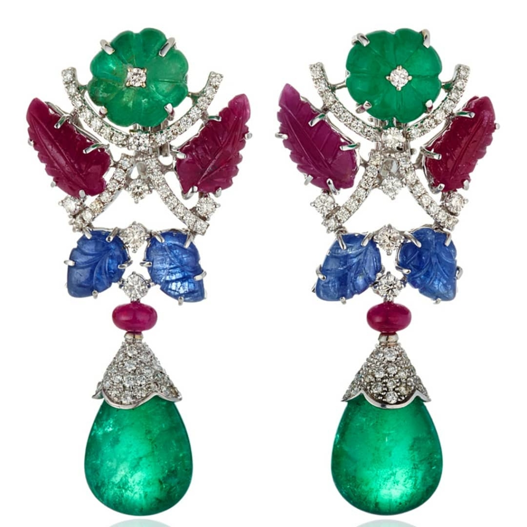 Colourful Drop Earrings with Diamonds, Rubies, Sapphires and Emeralds