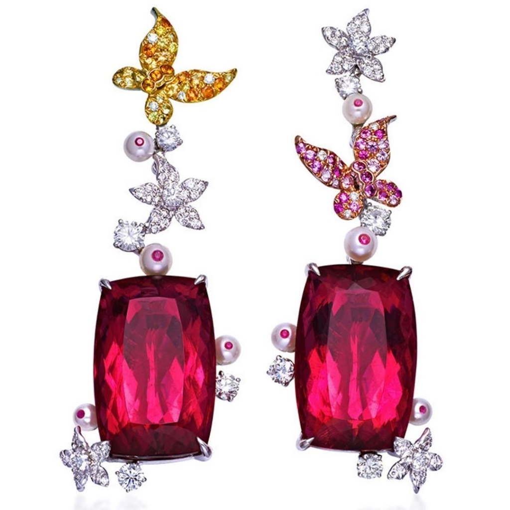Drop Earrings with Yellow and Pink Diamonds, Pearls and Rubies