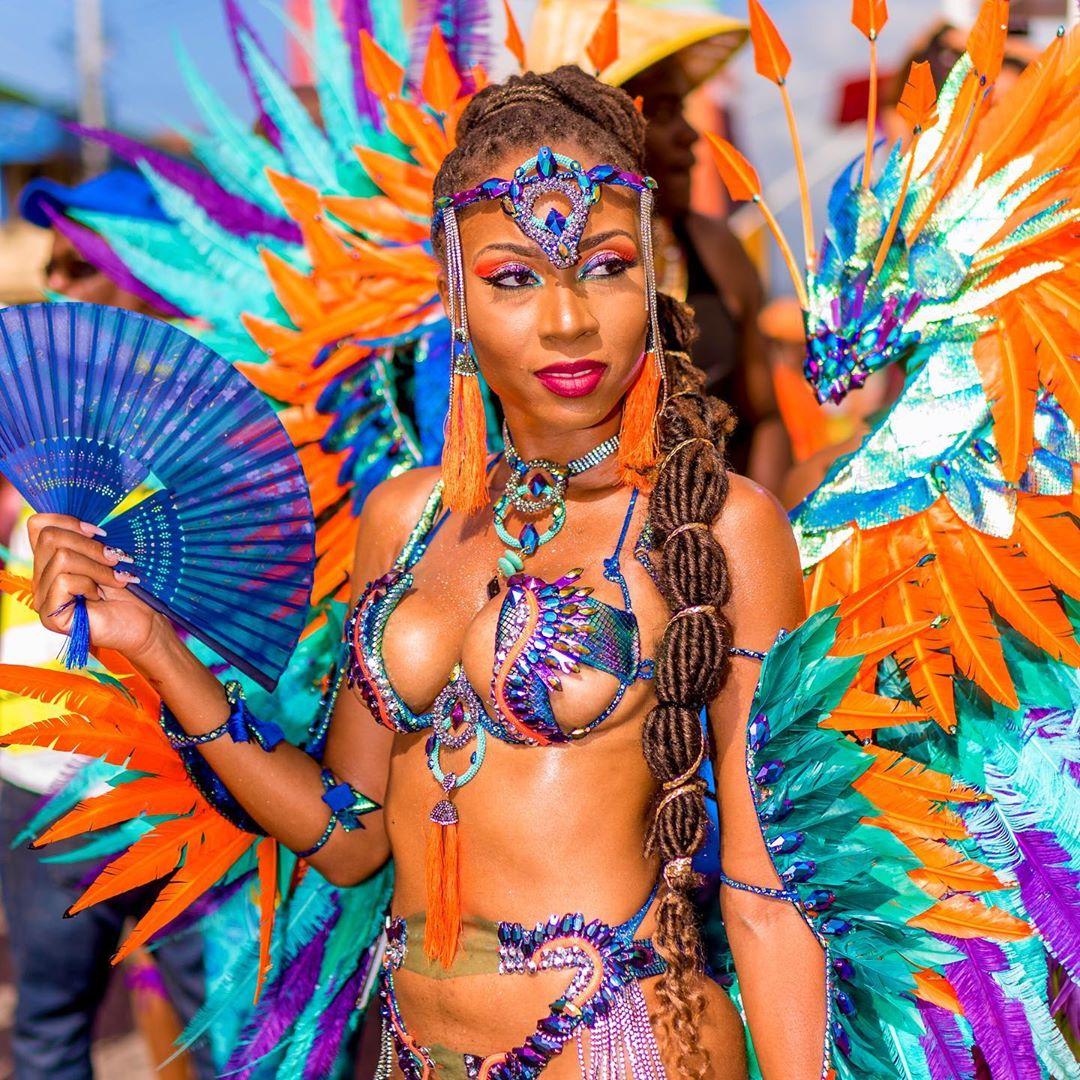 Blue Rhinestone and Orange Feather Women's Carnival Costume.