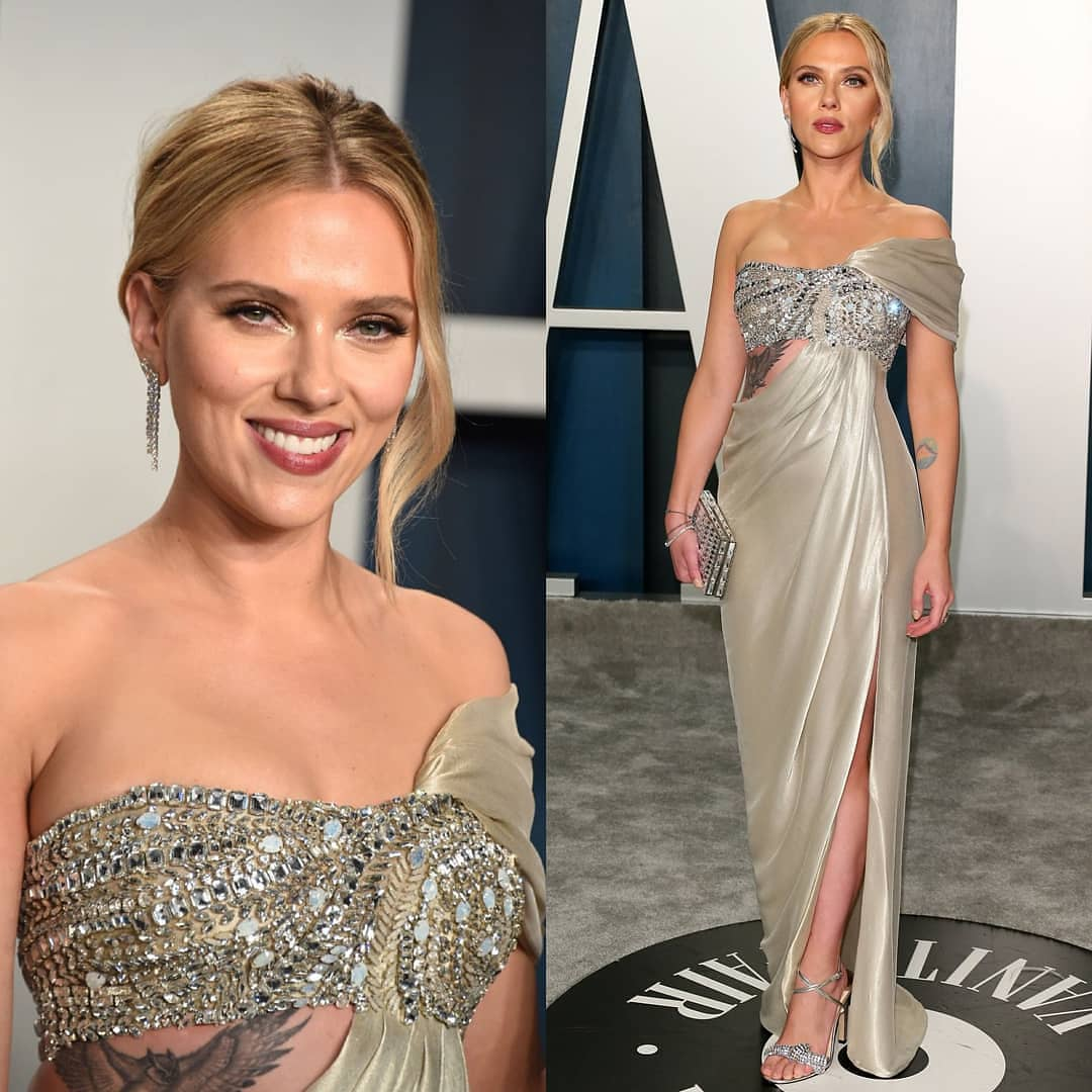 Light Gold Long Evening Gown with Glittering Rhinestoned Bust, Single Draped Shoulder and Slit.