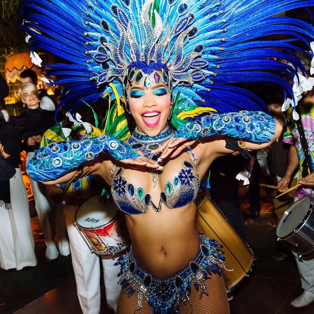 Peacock Inspired Samba Bikini Wear with Rhinestones and Feathers.