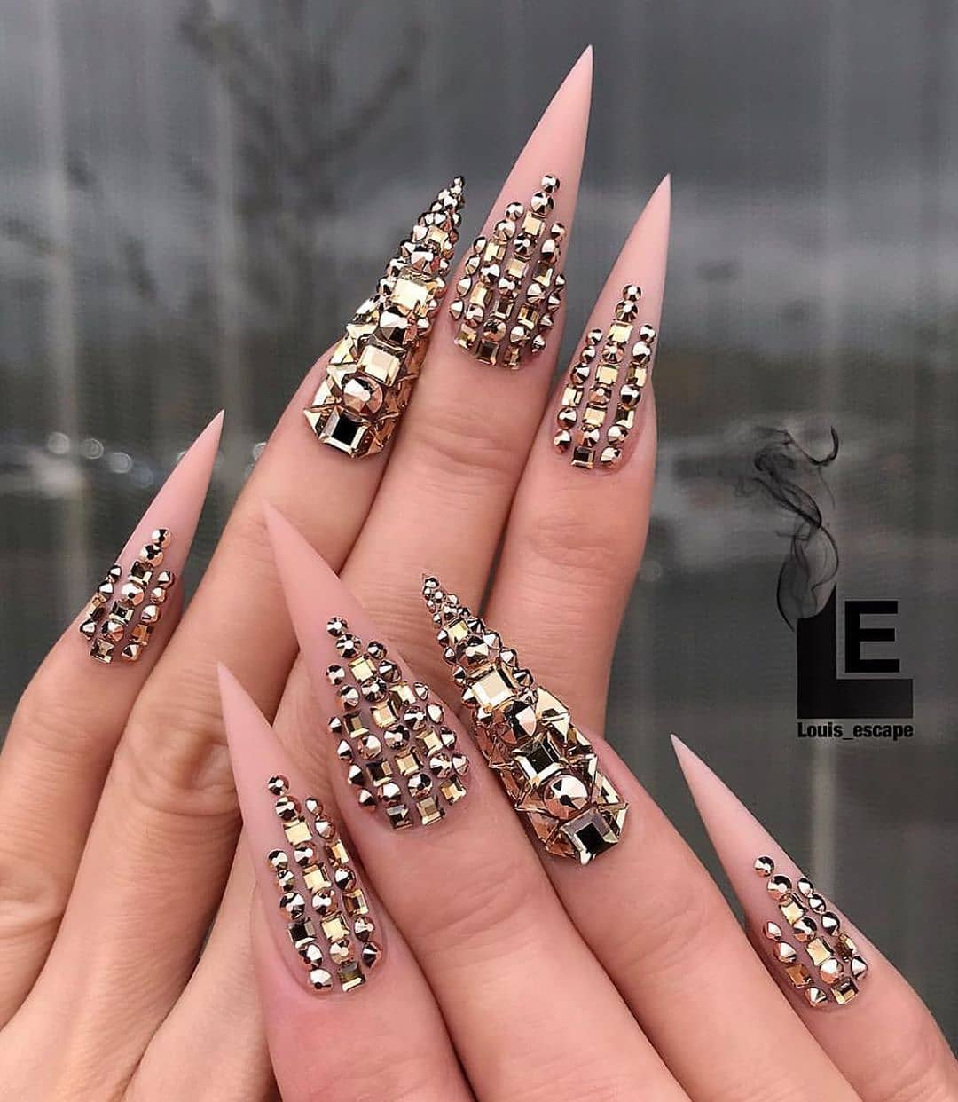 The Best Bling Online. Coffin Nail Art with Gold Rhinestones.