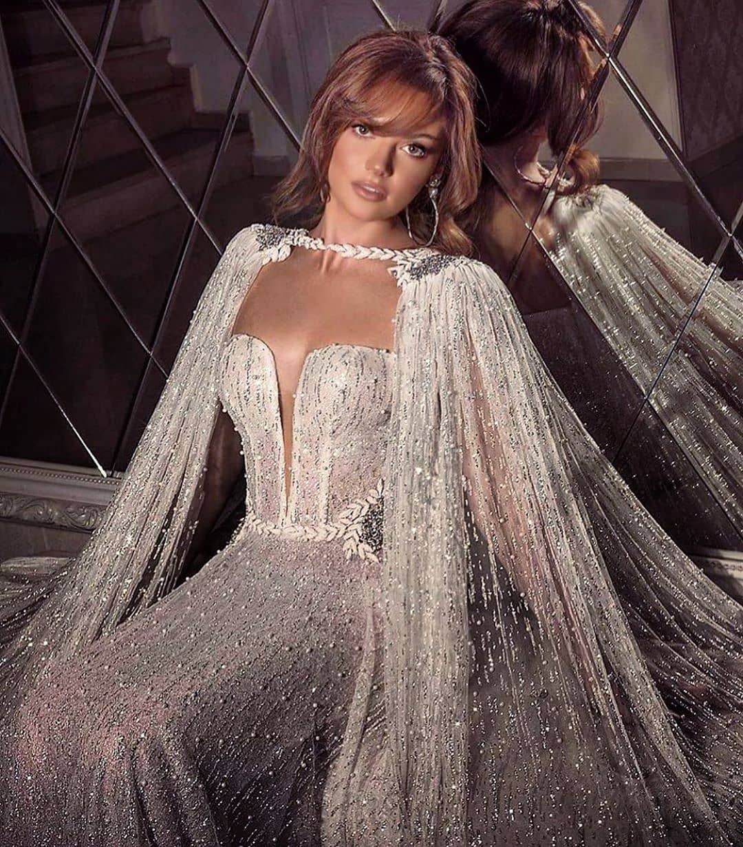 Silver Off-Shoulder Bride Gown with Train In Sequins and Beads.