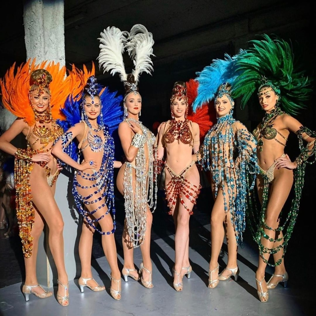 Multicoloured Two Piece Stage Bikinis with Feathers, Rhinestones and Sequins.
