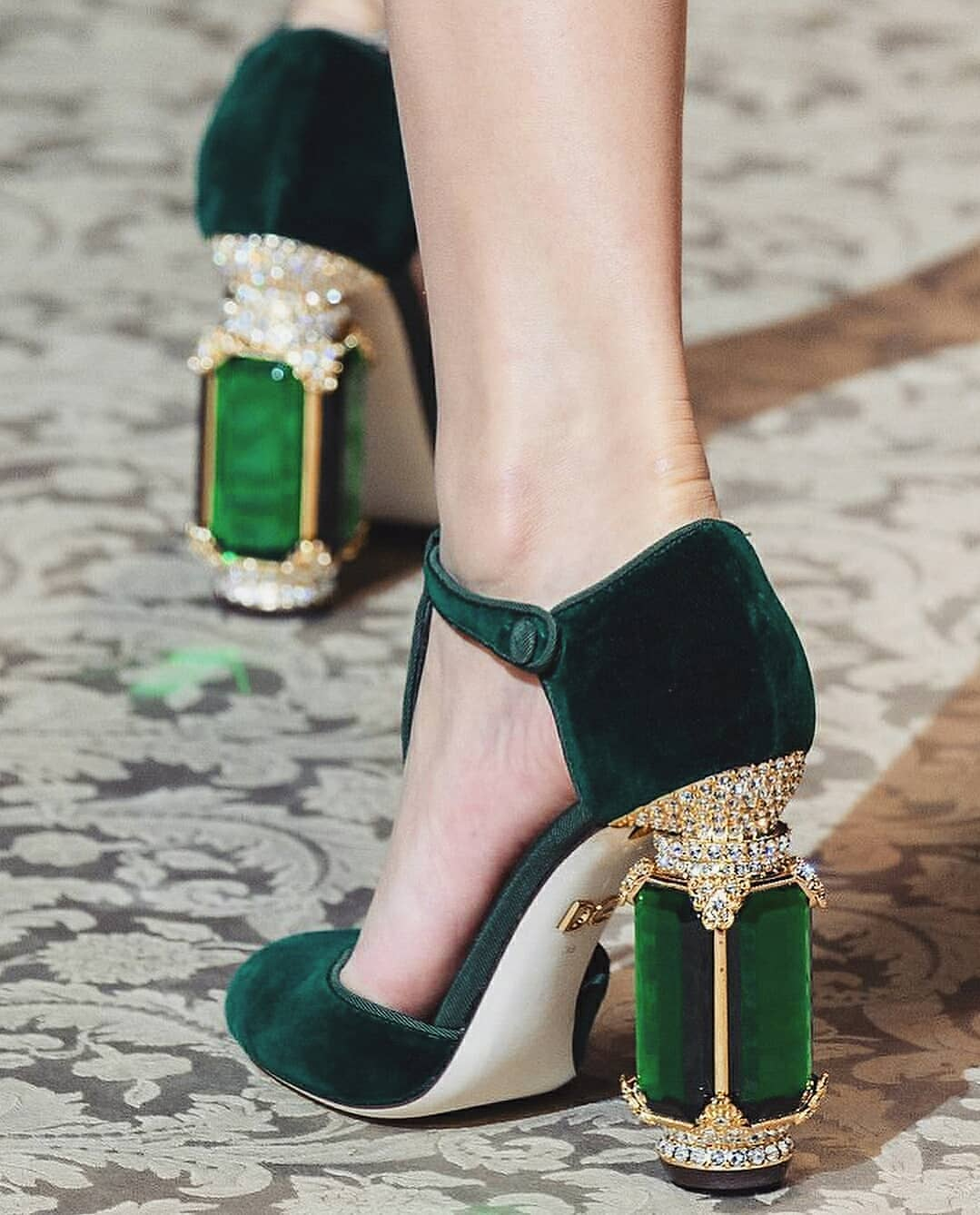 The Best Bling Online. Baroque Green Velvet and Emerald Crystal High Heel Sandals with Gold Rhinestones.
