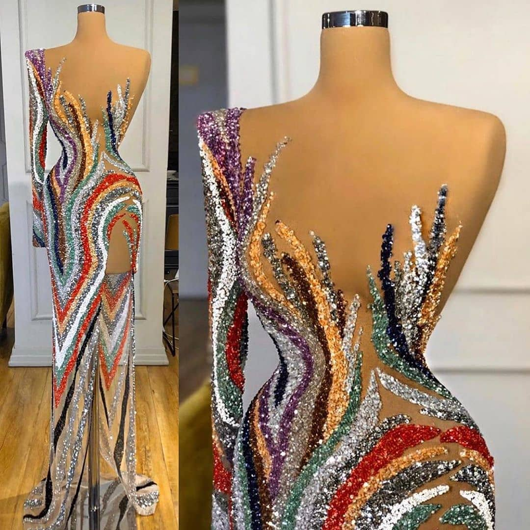 Sheer Glamour All Sequin Multi-Colour One-Sleeve Evening Gown.