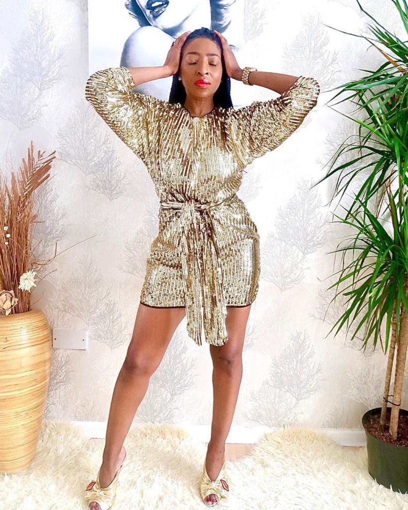 Gold Sequin Short Dress with Long Sleeves and Tie-up Belt.