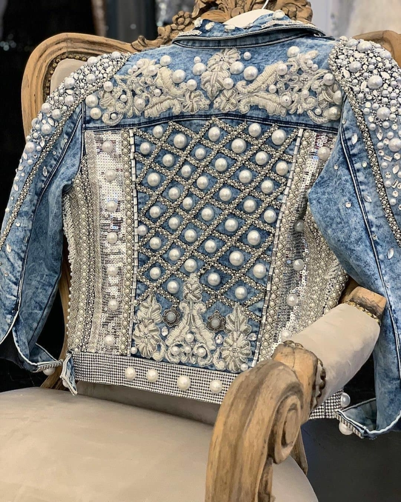The Best Bling Online. Sequin, Pearl and Rhinestone Demin Women's Jacket.