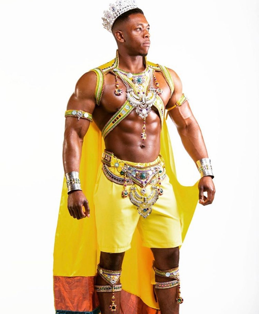 Men's Samba Yellow Shorts with Colourful Accessories and Belt with Rhinestones.
