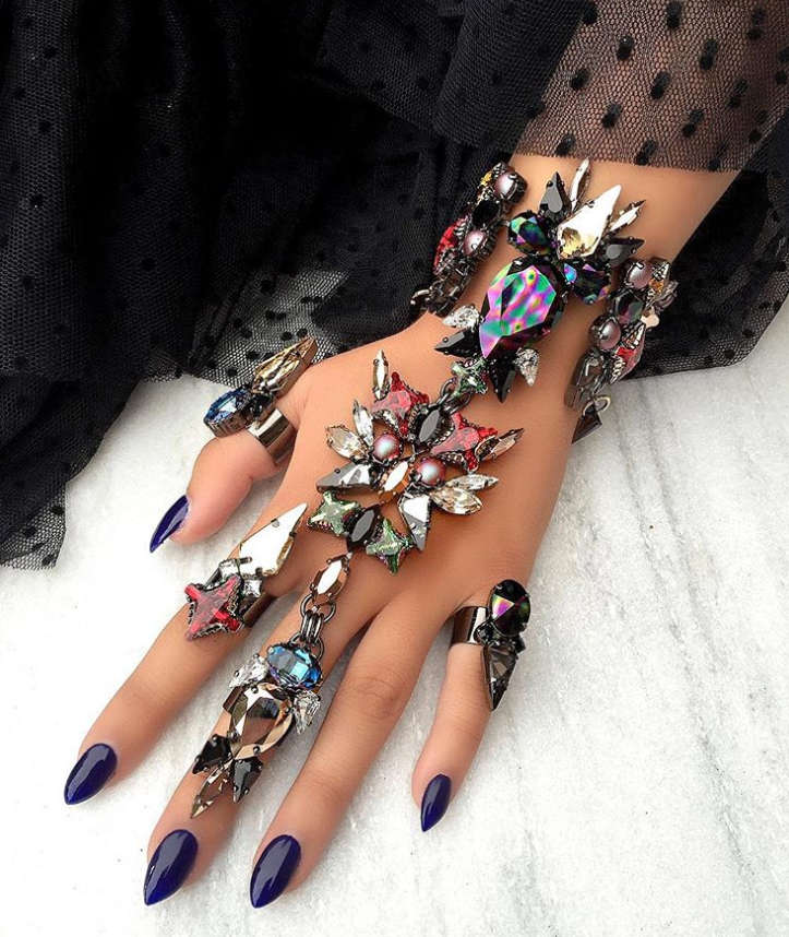 Crystals on a hand